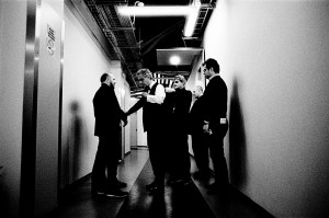 Andrea Bocelli preparing for his concert in the backstage with his crew and tour manager Massimo Nebuloni.