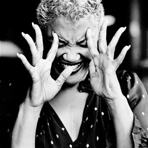 Measha Brueggergosman making a gesture with her hands.