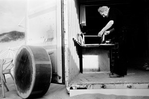 Theo Jansen working in his ship container atelier.