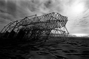 Kinetic sculpture of Theo Jansen on the beach.